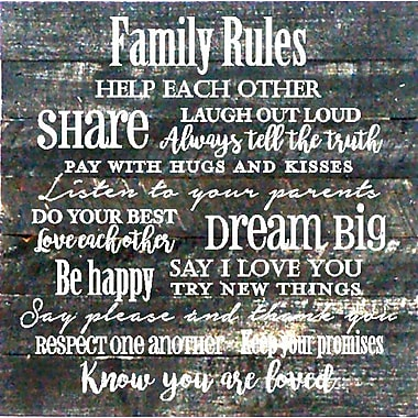 Winston Porter 'Family Rules' Textual Art on Wood in Black
