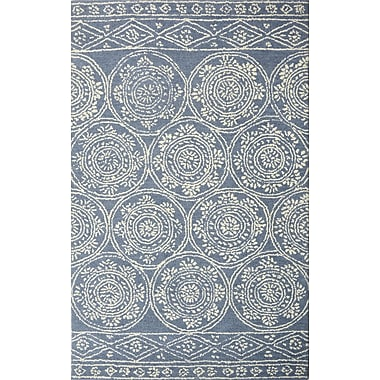 Bungalow Rose Villarreal Hand Tufted Wool Blue/Ivory Area Rug