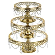 Astoria Grand Woodhull Metallic 3 Piece Cake Stand Set (Set of 3); Gold Plated