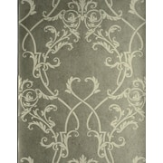 Brewster Home Fashions Savoy Nouveau Damask Wallpaper in Cream in , Wallpaper sample 8''x10''