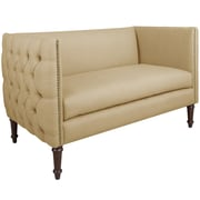 World Menagerie Corrales Linen Nail Button Tufted Chesterfield Settee; Sandstone