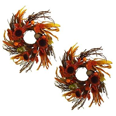 August Grove 8'' Cinnamon Sunflower Wreath (Set of 2)