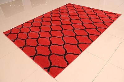Ebern Designs Carolan Wavy Pattern Orange/Black Area Rug; Runner 2' x 7'2''