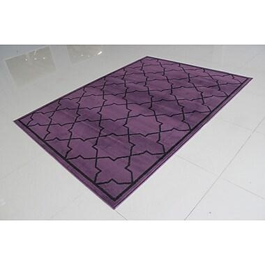 Ebern Designs Rattew Purple/Black Area Rug; Runner 2' x 7'2''