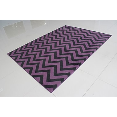 Ebern Designs Gabaldon Purple/Black Area Rug; 5'3'' x 7'2''