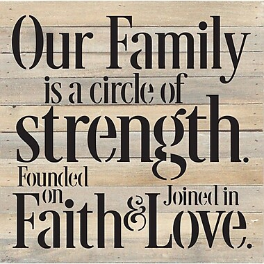 Charlton Home 'Our Family' Textual Art on Wood in Cream