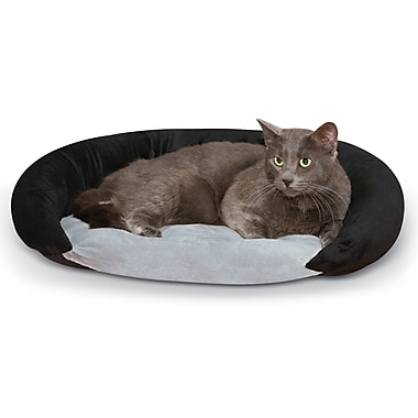 K&H Manufacturing Self-Warming Hooded/Dome Bolster Bed; Black/Gray