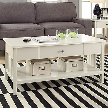 Red Barrel Studio Bechtel Mission Style Wood Coffee Table; White
