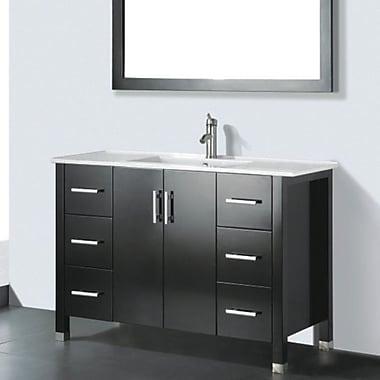 Latitude Run Vidya 48'' Single Wood Bathroom Vanity Set w/ Mirror; Chestnut