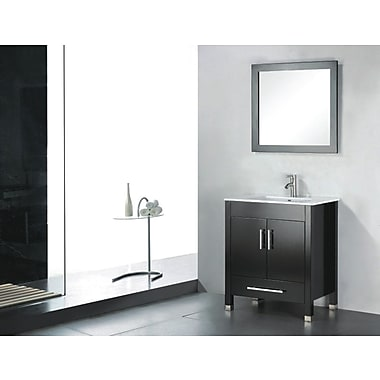 Latitude Run Vidya 24'' Single Wood Bathroom Vanity Set w/ Mirror; Espresso
