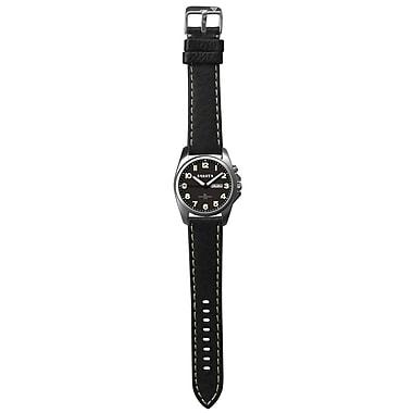Dakota Men's Wristwatch With Leather Band, Black/Charcoal, Men (2609-2)