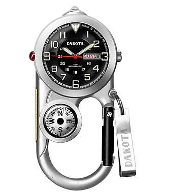 Dakota Analog Clip Watch With Thermometer and Compass, Grey/Silver, Men (3709-8)