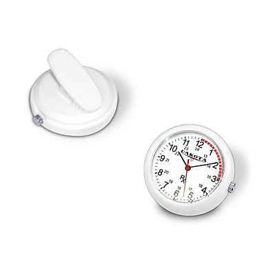 Dakota Plastic Clip Watch for Nurse, White/Ivory/Cream, Unisex (3779-3)