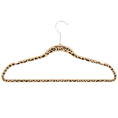 Honey-Can-Do Patterned Printed Hangers, Brown With Black Cheetah Print (HNG-03015)