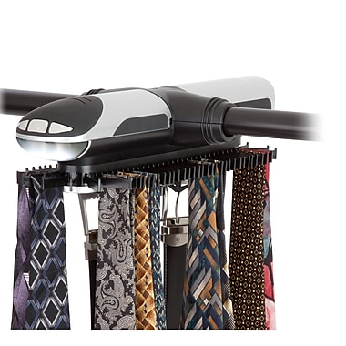Honey-Can-Do Illuminated Electronic Tie Rack, Black/Silver (HNG-03222)
