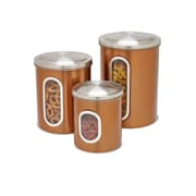 Honey-Can-Do Steel Canister Set, 3 Pieces, Stainless Top/Copper Body (KCH-01026)