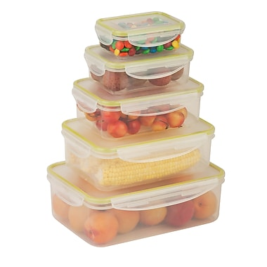 Honey-Can-Do 10-Piece Locking Food Container Set, Clear (KCH-03829)