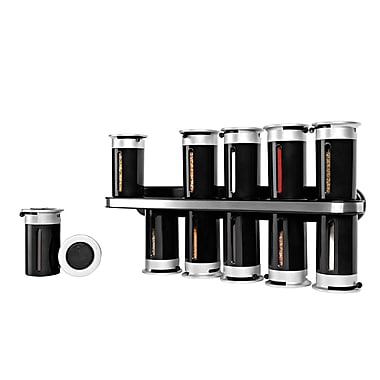 Honey-Can-Do Zero Gravity Wall-Mounted Spice Rack with 12 Canisters, Black (KCH-06101)