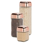 Honey-Can-Do 3 Piece Set Copper Lid Glass Canisters, Rose (KCH-06479)
