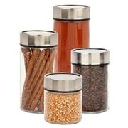 Honey-Can-Do ? Ensemble de 4 contenants en verre avec couvercle cadran pour la date, noir/transparent (KCH-06481)