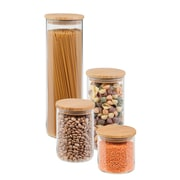 Honey-Can-Do 4-Piece Bamboo-Lid Storage Jar Set, Clear/Bamboo (KCH-06527)