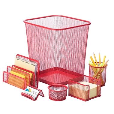 Honey-Can-Do 6 Piece Mesh Desk Set, Red (OFC-04880)