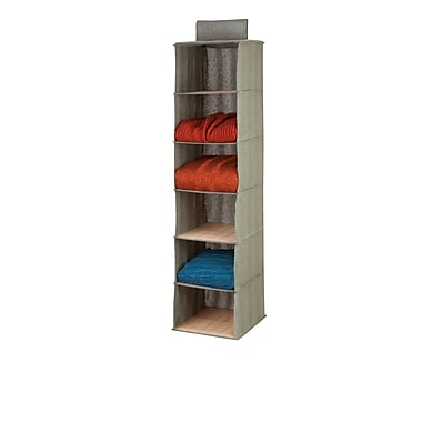 Honey-Can-Do 6-Shelf Bamboo Sweater Organizer, Natural Bamboo And Moss Green (SFT-03042)