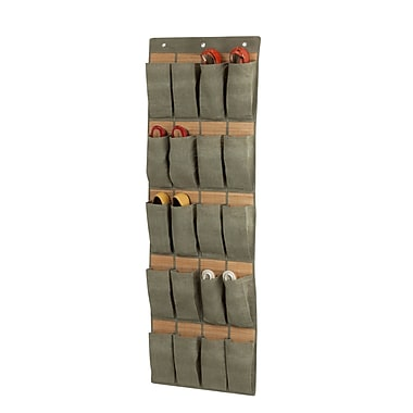 Honey-Can-Do 20 Pocket Over the Door Bamboo Shoe Organizer, Natural Bamboo And Moss Green (SFT-03044)
