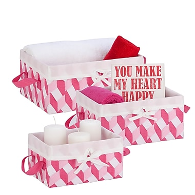 Honey-Can-Do Twisted Tote, Pink/Light Pink/White, 3/Pack (STO-06675)