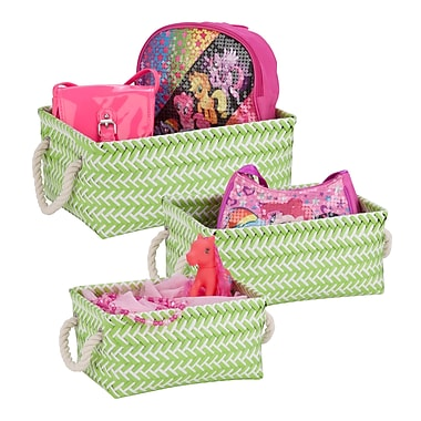 Honey-Can-Do Zig Zag Baskets, 3 Pieces, Green (STO-06685)