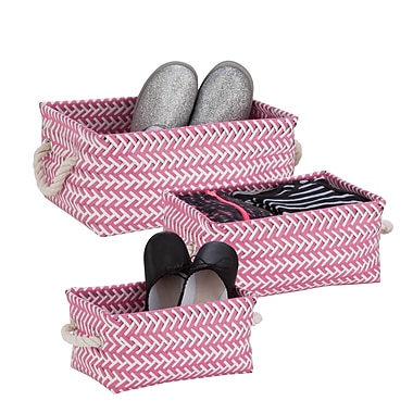 Honey-Can-Do Zig Zag Baskets, 3 Pieces, Hot Pink (STO-06688)