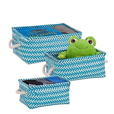 Honey-Can-Do Zig Zag Baskets, 3 Pieces, Blue (STO-06689)