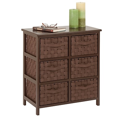 Honey-Can-Do Woven Strap 6 Drawer Chest With Wooden Frame, Java Brown (TBL-03758)