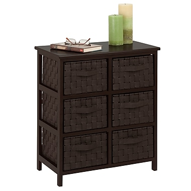 Honey-Can-Do Woven Strap 6 Drawer Chest With Wooden Frame, Espresso Black (TBL-03759)