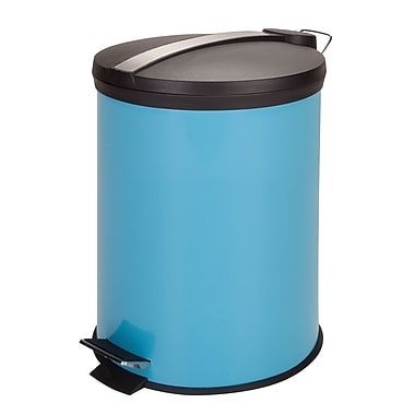 Honey-Can-Do Coloured Metal Trash Can, Blue (TRS-05249)