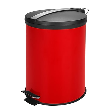 Honey-Can-Do Coloured Metal Trash Can, Red (TRS-05250)