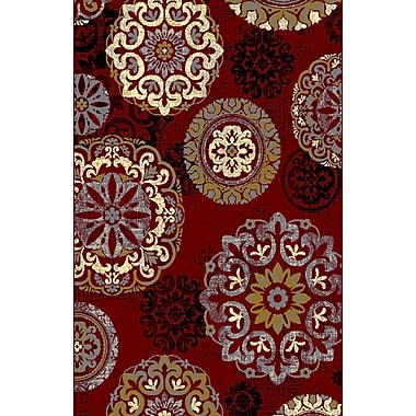 Bungalow Rose Adkins Red Area Rug; 5'3'' x 7'2''