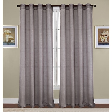 Winston Porter Kaye Woven Lurex Solid Semi-Sheer Grommet Curtain Panel; Silver