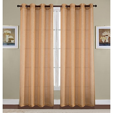 Winston Porter Kaye Woven Lurex Solid Semi-Sheer Grommet Curtain Panel; Gold