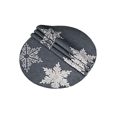 The Holiday Aisle Snowflake Embroidered Christmas Round Placemat (Set of 4); Gray