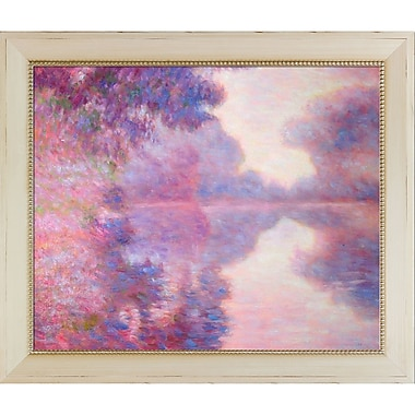 Tori Home 'Misty Morning on the Seine, Pink' by Claude Monet Framed Original Painting on Canvas