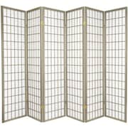 World Menagerie Trevor 70'' x 84'' Pane Shoji 6 Panel Room Divider; Grey
