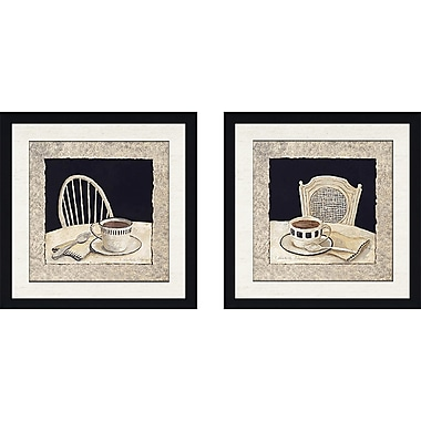 August Grove 'Stay for Coffee' 2 Piece Framed Acrylic Painting Print Set