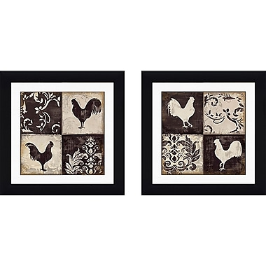 August Grove 'Rooster Silhouette' 2 Piece Framed Graphic Art Print Set