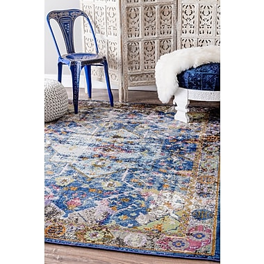 Bungalow Rose Faustine Blue Area Rug; 4' x 6'