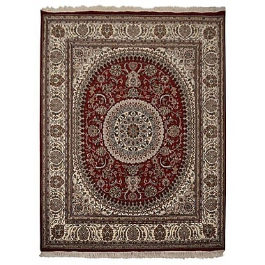Astoria Grand Shephard Hand Knotted Isfahan Rectangle Wool Red Area Rug