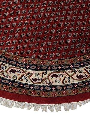 Astoria Grand Shephard Hand Knotted Persian Wool Red/Cream Round Rug