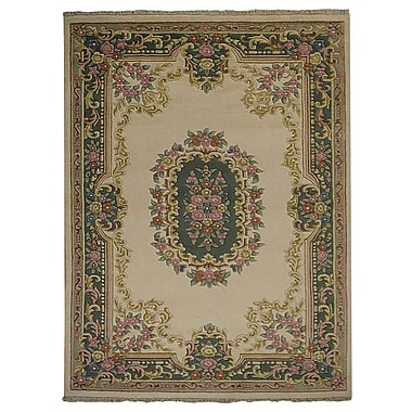 Astoria Grand Shephard Hand Knotted Persian Wool Ivory/Green Area Rug