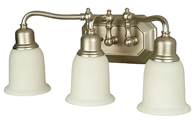 Charlton Home Orangeville Three Light Vanity Light; Brushed Nickel