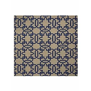 Brayden Studio Browner Flat Weave Hand Knotted Kelim Wool Cream/Blue Area Rug